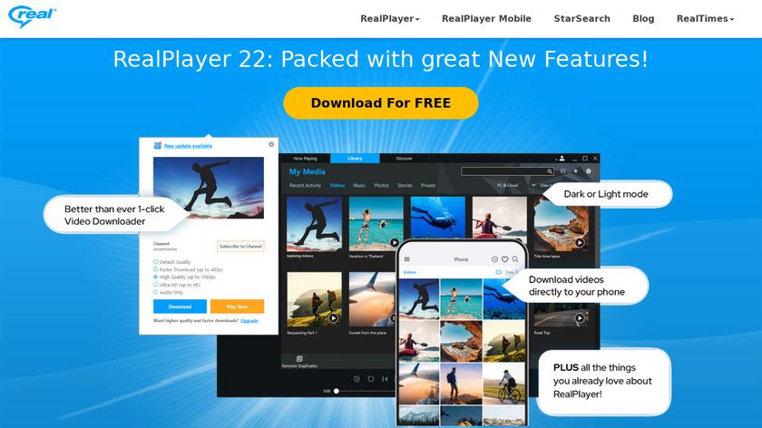 RealPlayer Landing Page