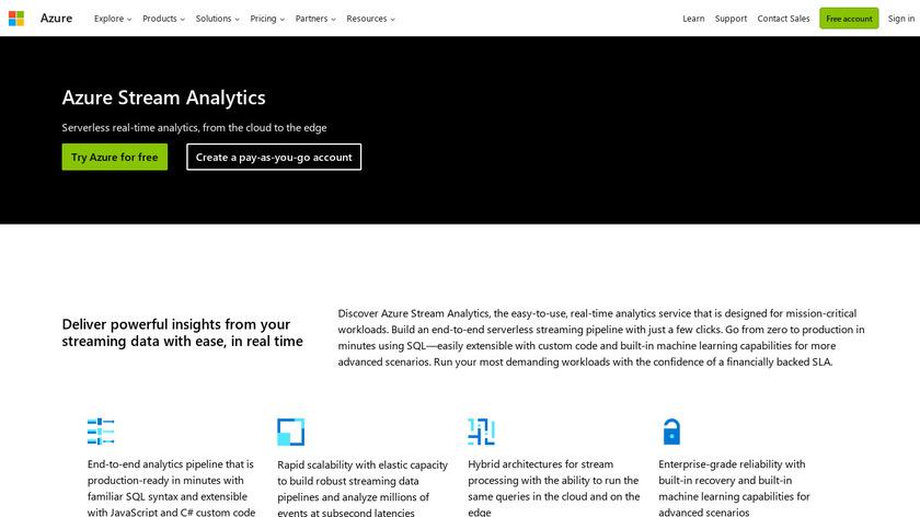 Azure Stream Analytics Landing Page