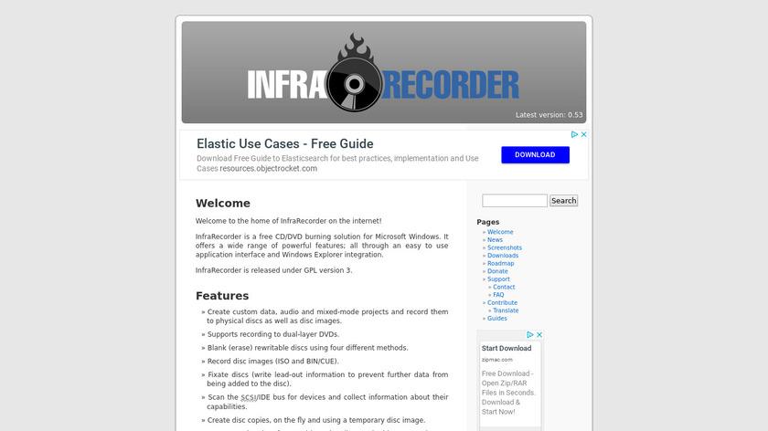 InfraRecorder Landing Page