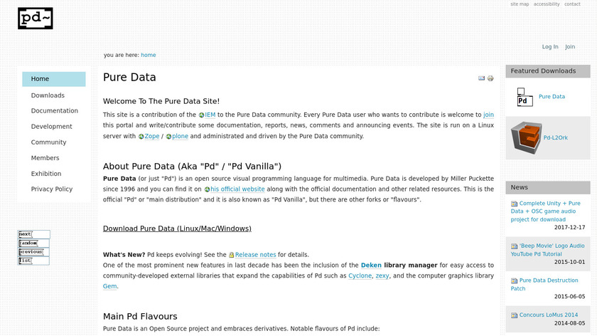 Pure Data Landing Page
