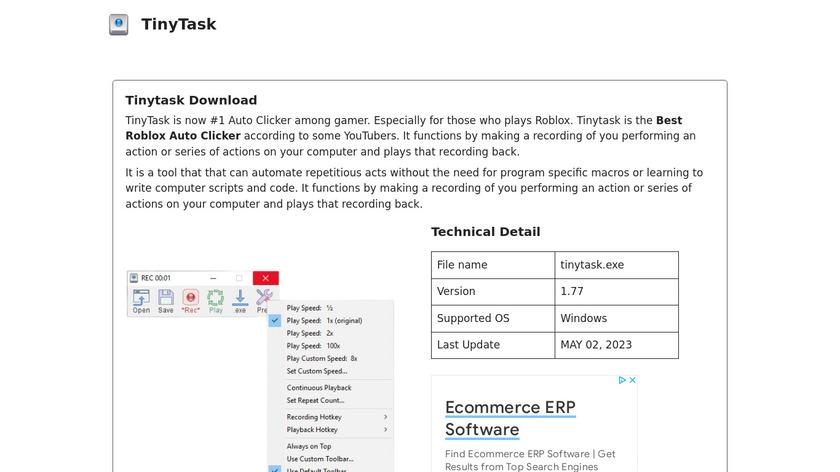 TinyTask Landing Page