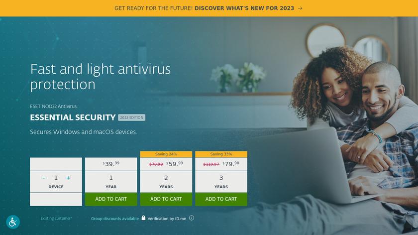 ESET NOD32 Antivirus Landing Page