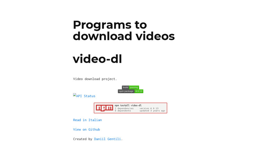 Video-dl Landing Page