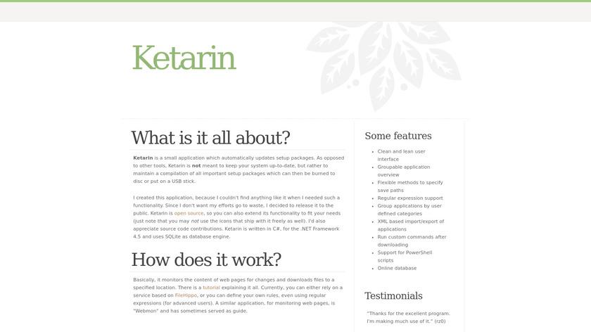 Ketarin Landing Page