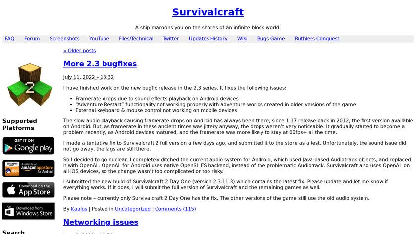 SurvivalCraft Landing Page