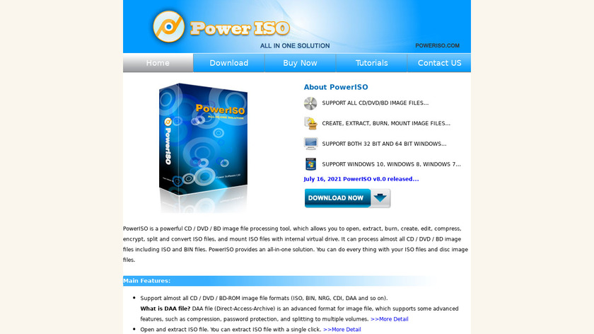PowerISO Landing Page