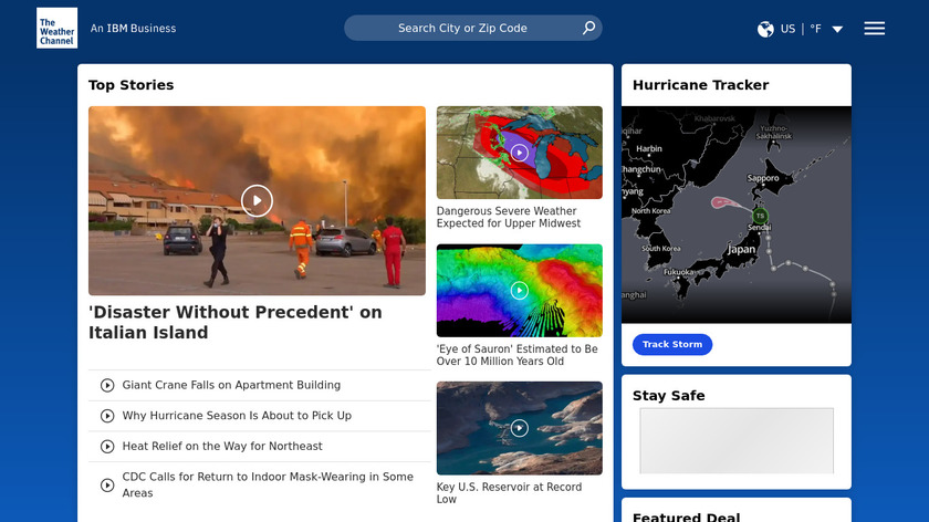 The Weather Channel Landing Page