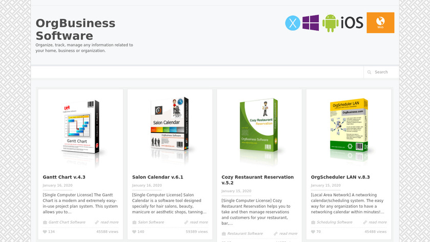 OrgBusiness Software Landing Page