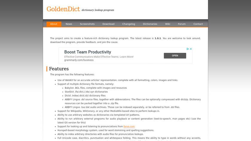GoldenDict Landing Page