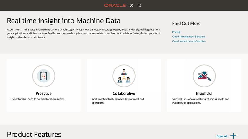 Oracle Log Analytics Cloud Service Landing Page