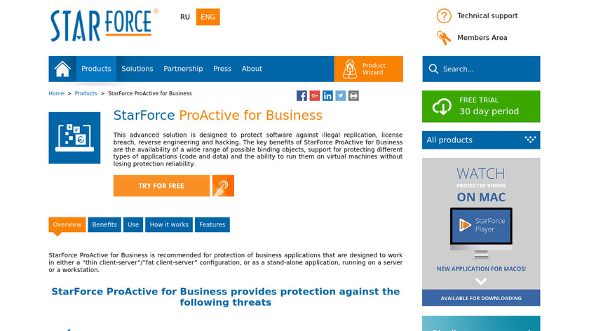 StarForce ProActive for Business Landing Page
