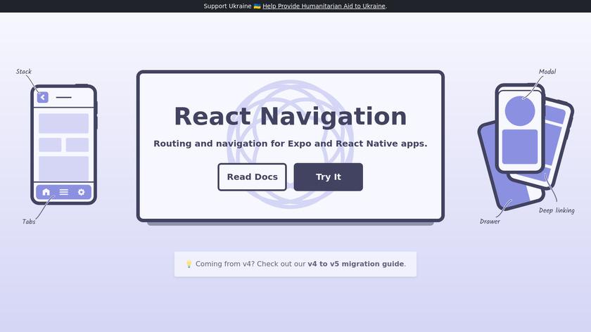 React Navigation Landing Page