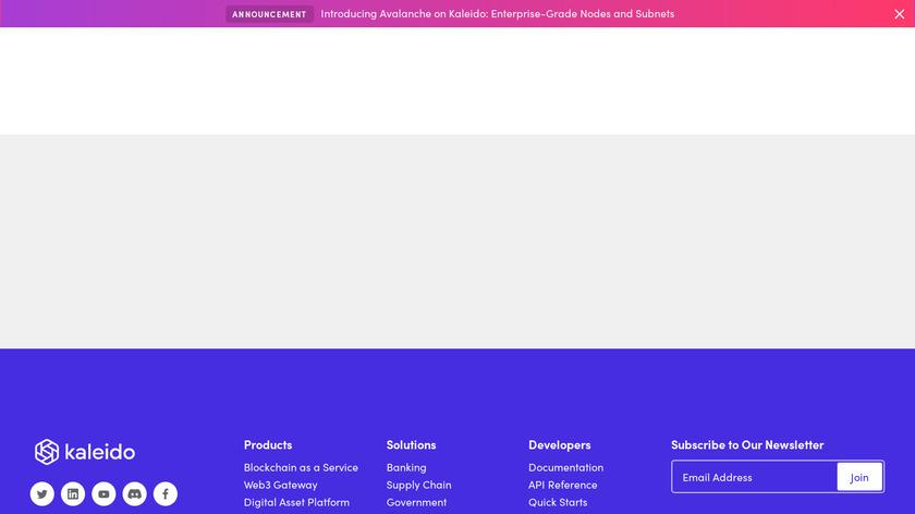 Kaleido Blockchain Business Cloud Landing Page