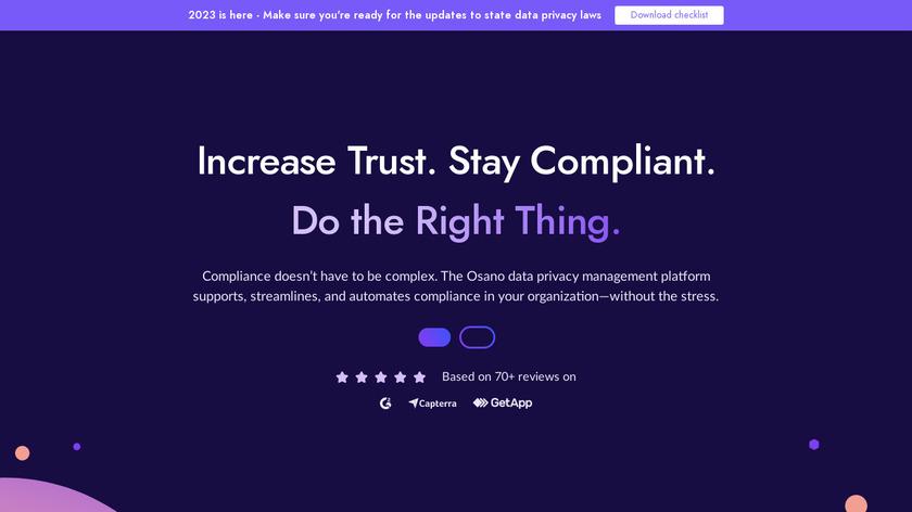 Osano Data Privacy Platform Landing Page