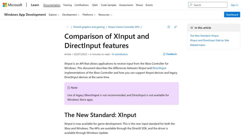 XInput Landing Page