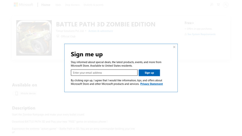 Battle Path 3D: Zombie Edition Landing Page