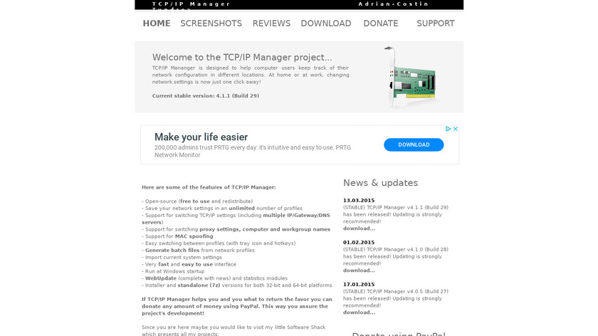 TCP/IP Manager Landing Page