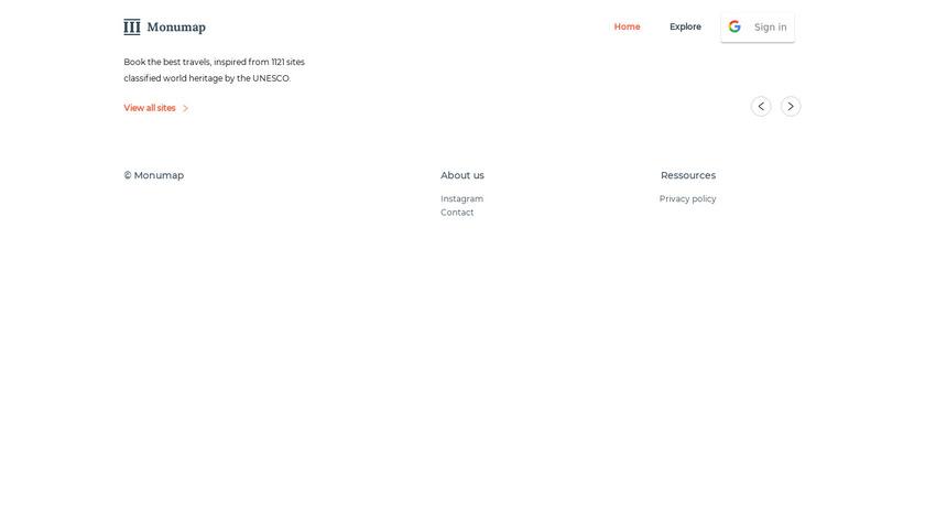 Monumap Landing Page