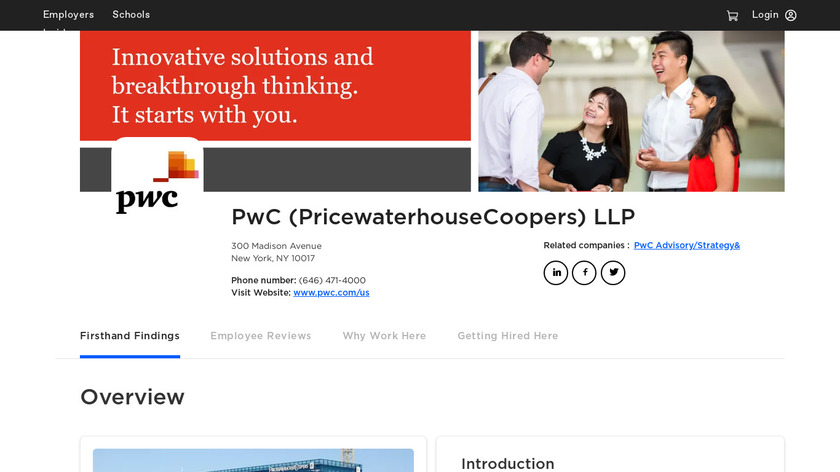 PricewaterhouseCoopers (PwC) Landing Page