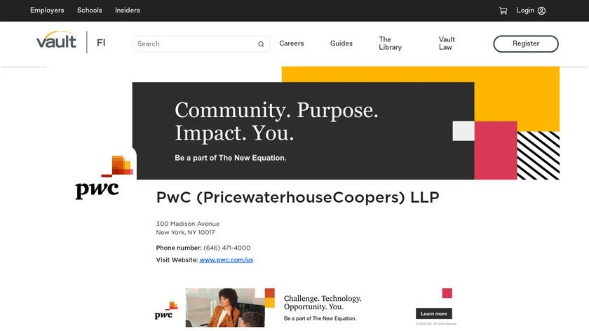 PricewaterhouseCoopers (PwC) Landing Page