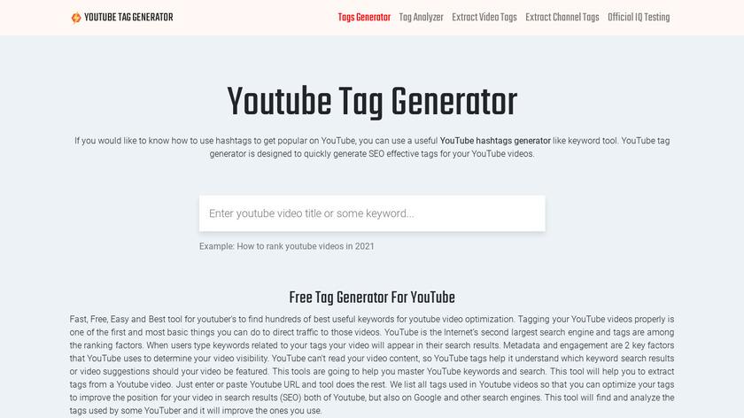 Youtube Tag Generator Landing Page