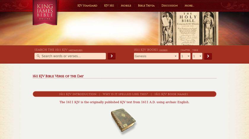 1611 King James Bible Landing Page