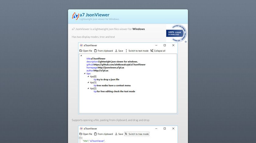 a7 JsonViewer Landing Page