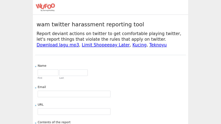 Twitter Harassment Tool Landing Page