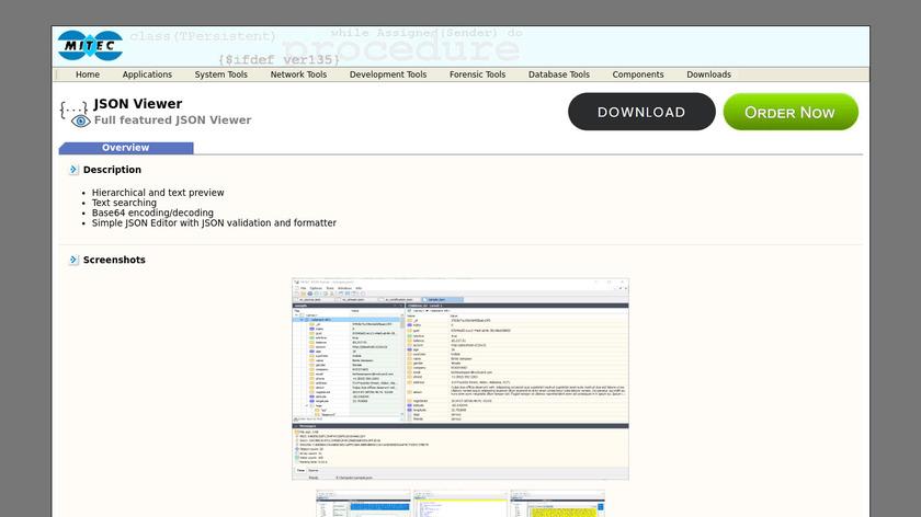 MiTeC JSON Viewer Landing Page