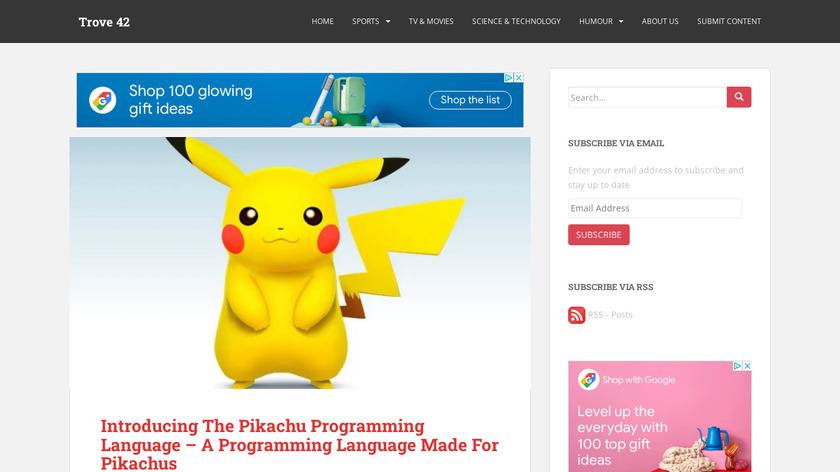 The Pikachu Programming Language Landing Page