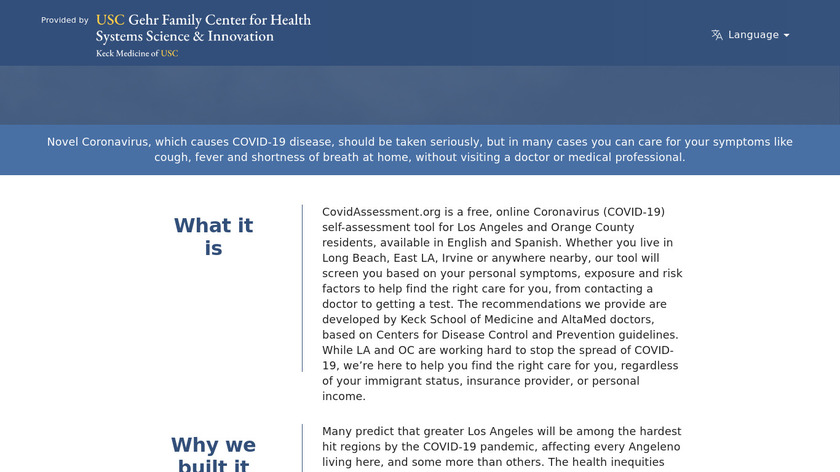 COVID-19 Self-Assessment Tool Landing Page
