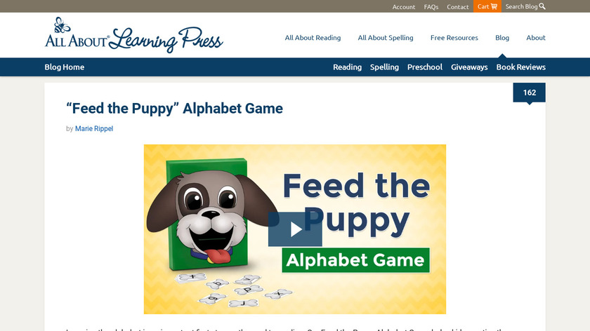Learning Letters Puppy Landing Page