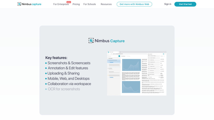Nimbus Screenshot Landing Page