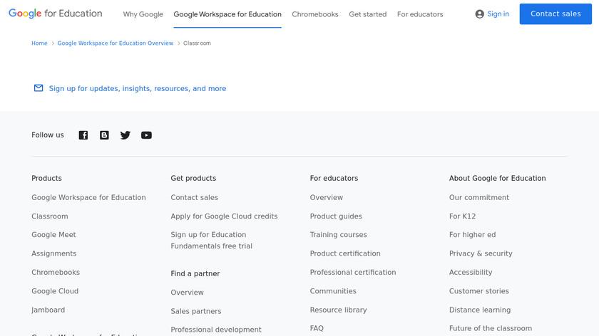 Google Classroom Landing Page