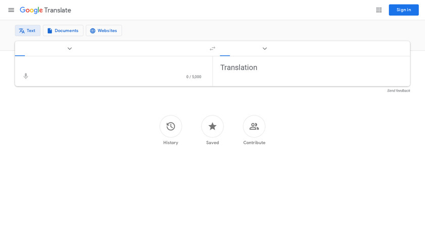 Google Translate Landing Page