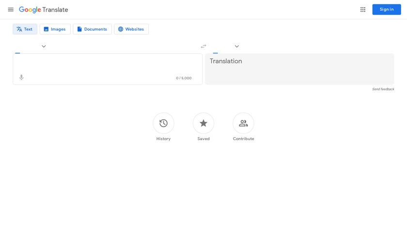 Google Translate Landing Page