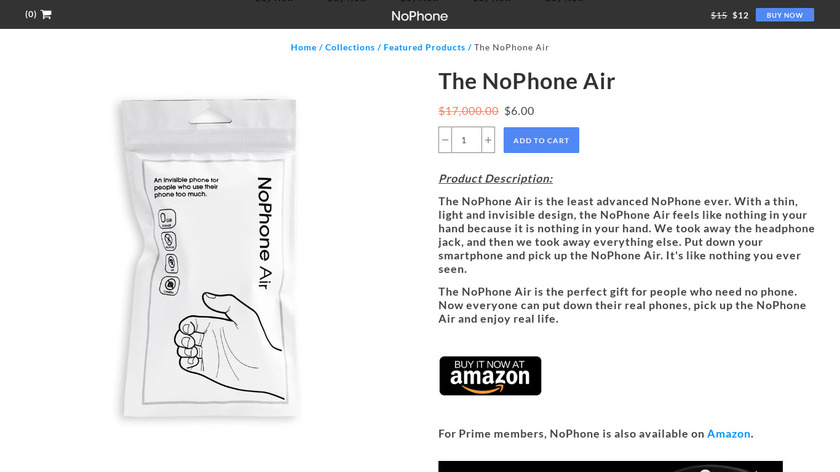 The NoPhone Air Landing Page