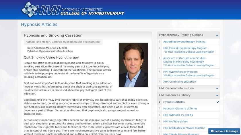 Smoking Cessation Hypnosis Landing Page