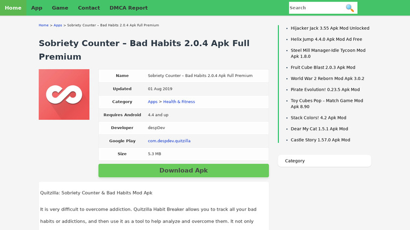 Sobriety Counter – Bad Habits Landing Page