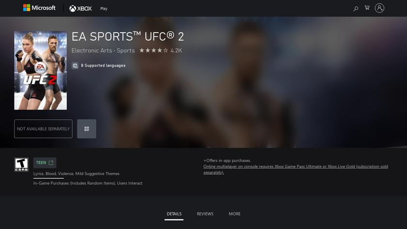 EA Sports UFC 2 Landing Page