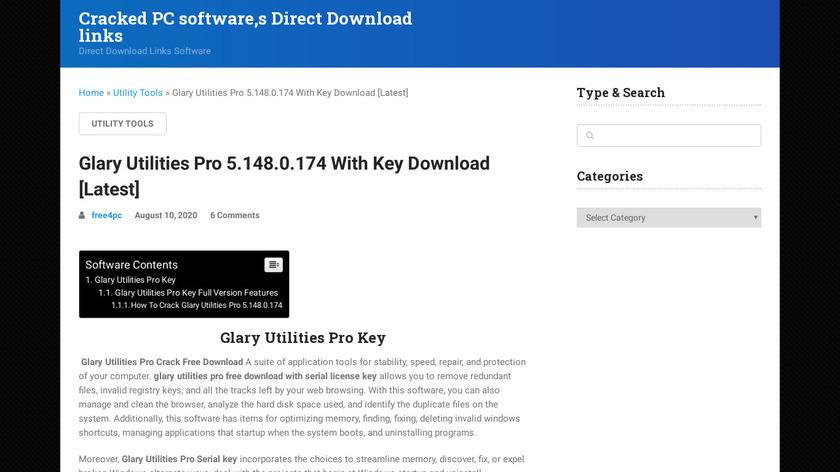 Glary Utilities Pro Landing Page