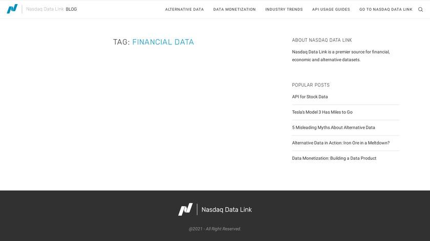 Quandl - Financial Data API Landing Page