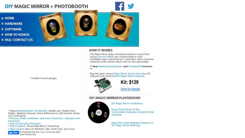 DIY Magic Mirror kit Landing Page
