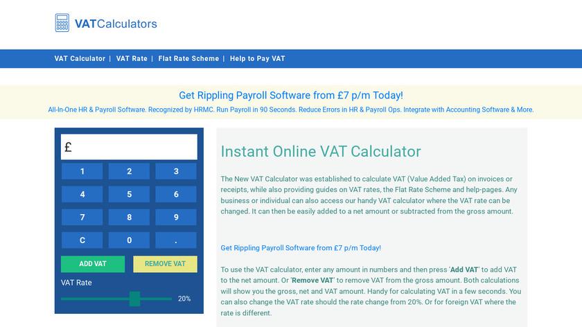 VATCalculators.co.uk Landing Page