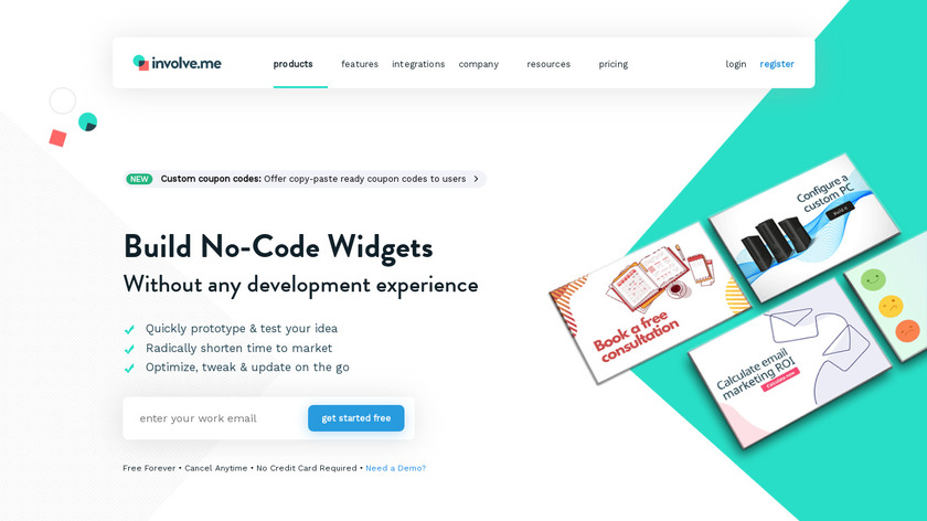 No-Code Widget Builder Landing Page