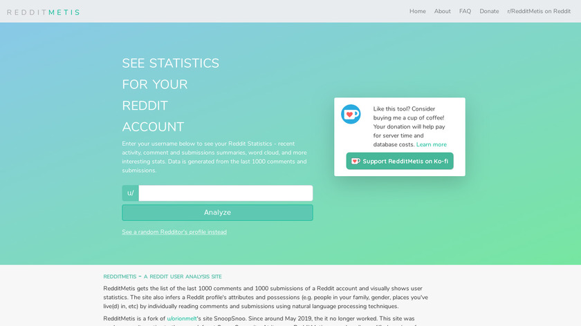 Reddit Metis Landing Page