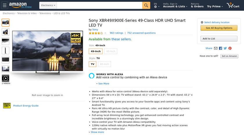 "Sony X900E 49"" (XBR49X900E) Landing Page"