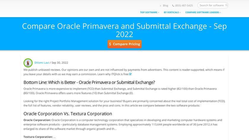 Primavera Submittal Exchange Cloud Service Landing Page