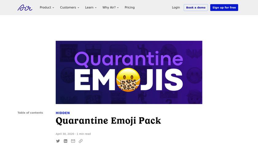 Quarantine Emojis Landing Page