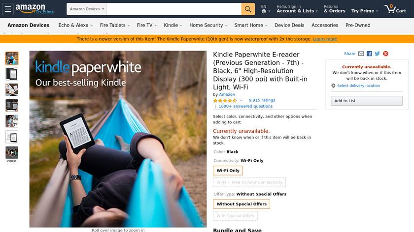 Kindle Paperwhite 7th gen Landing Page